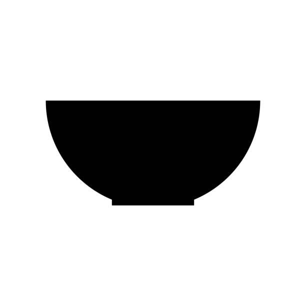 asiatische küche-symbol silhouette auf weißem hintergrund - schüssel stock-grafiken, -clipart, -cartoons und -symbole