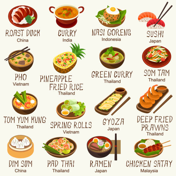 stockillustraties, clipart, cartoons en iconen met aziatisch eten iconen - indonesische cultuur