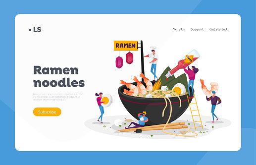 Asian Food Landing Page Template. Tiny Characters Cooking and Eating Ramen or Pasta, People Put Condiments in Huge Bowl