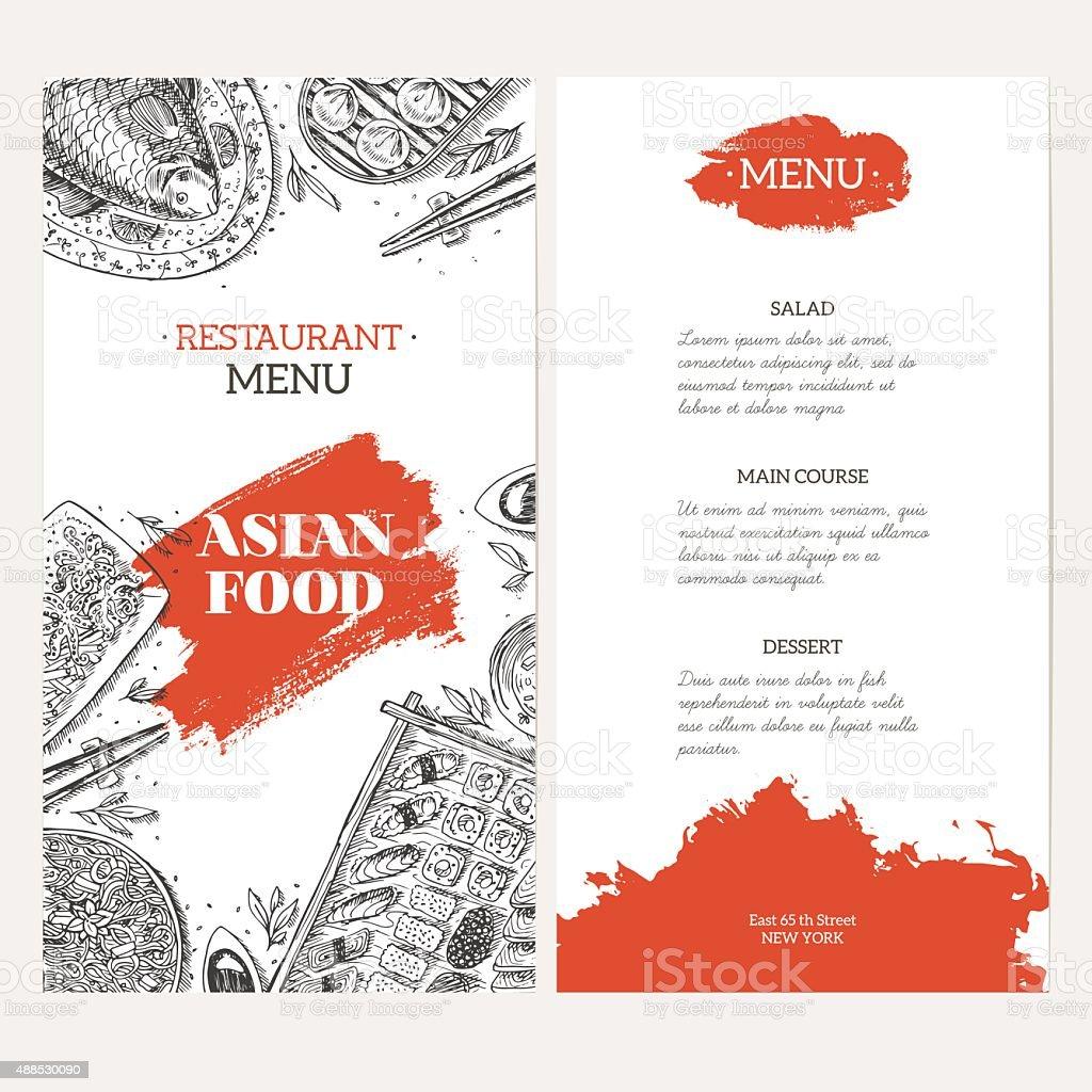 Kuchnia Azjatycka Menu Szablon Liniowe Logo Ilustracja