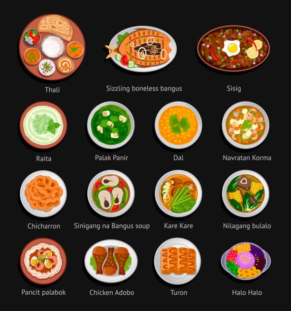 stockillustraties, clipart, cartoons en iconen met aziatisch eten. filippijnse en indiase keuken. - filipijnen