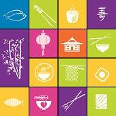 Asian Food Restaurant Icons.