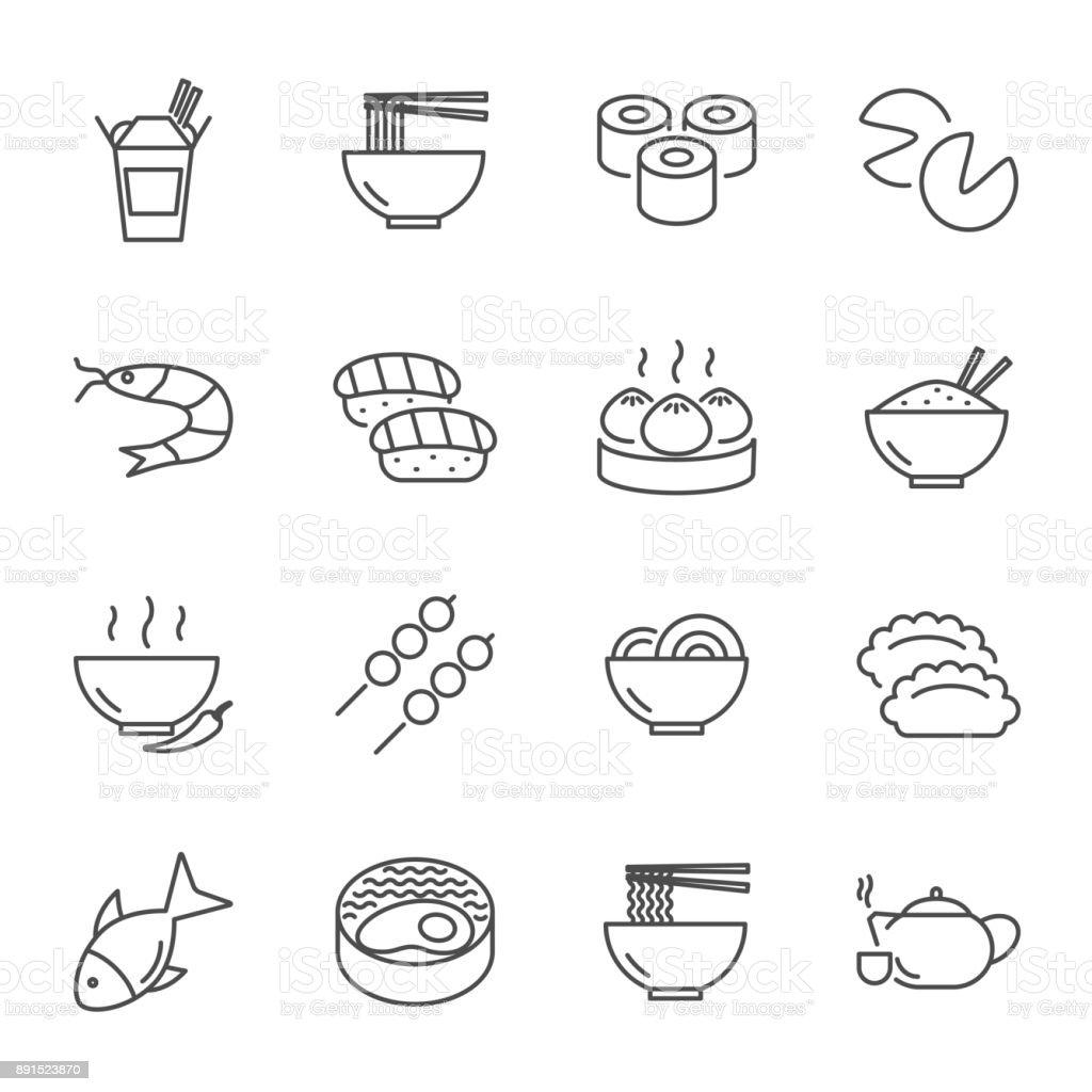 Conjunto de comida asiática de estilo de linha do vetor ícones - Vetor de Almoço royalty-free
