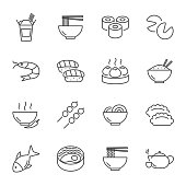 Asian food set of vector icons line style