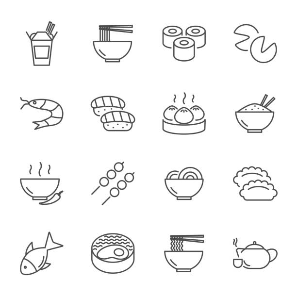 asian food set of vector icons line style - japanese food stock illustrations