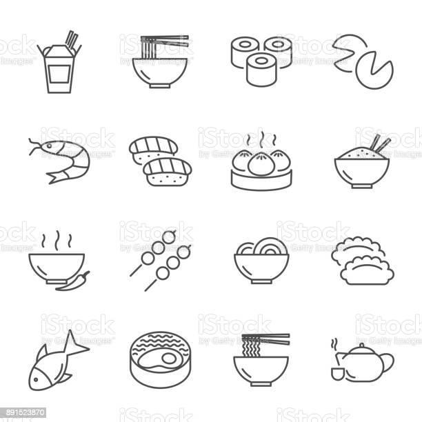 Vetores de Conjunto De Comida Asiática De Estilo De Linha Do Vetor Ícones e mais imagens de Almoço