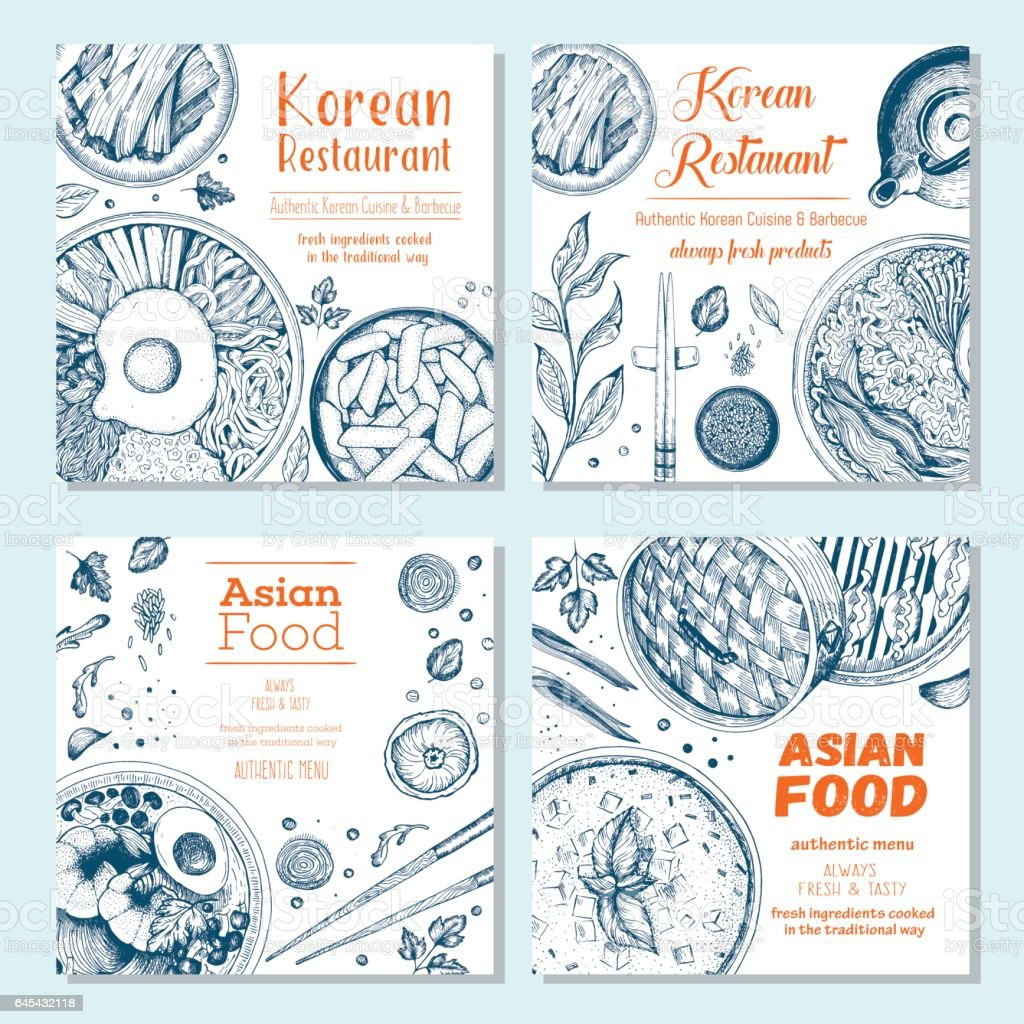 Asian food square banner collection vector art illustration