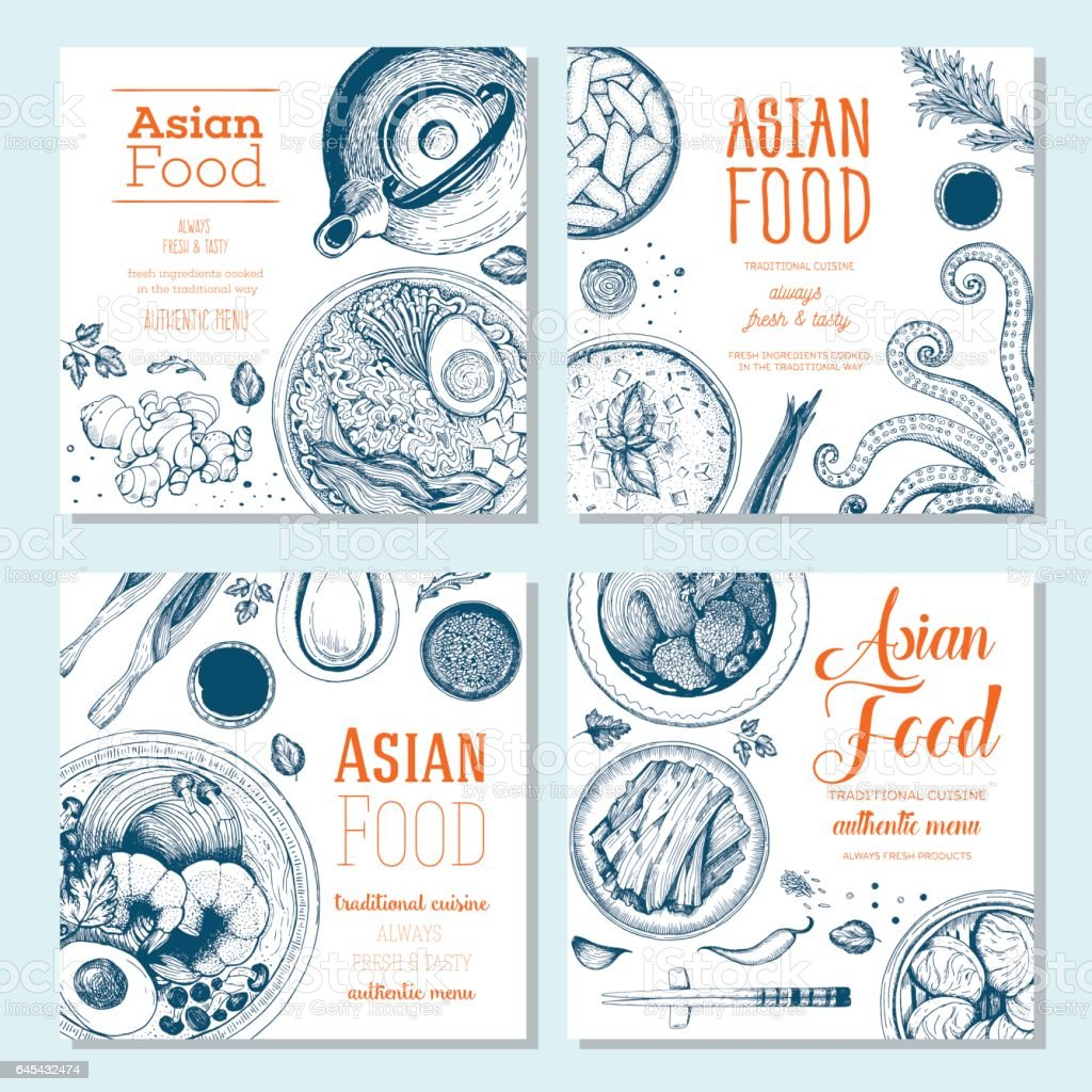 Asian food square banner collection. vector art illustration