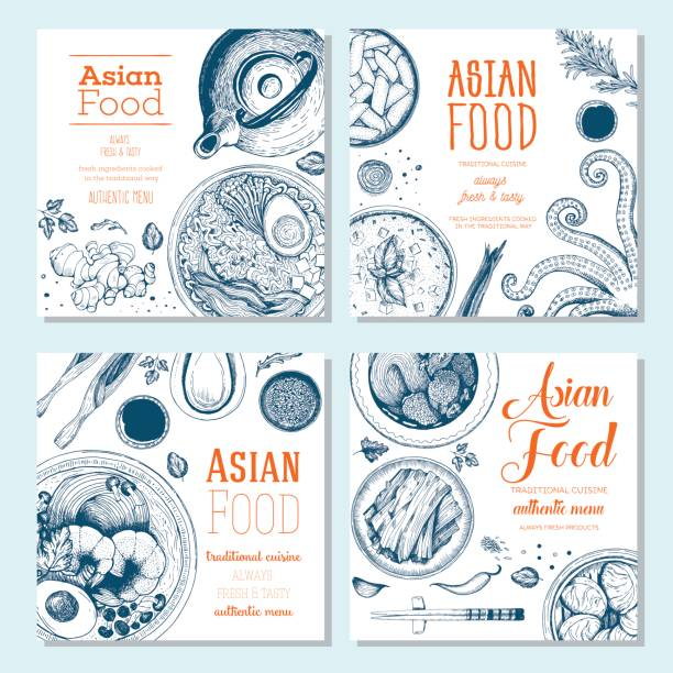 asian food square banner collection. - chinese food stock illustrations, clip art, cartoons, & icons