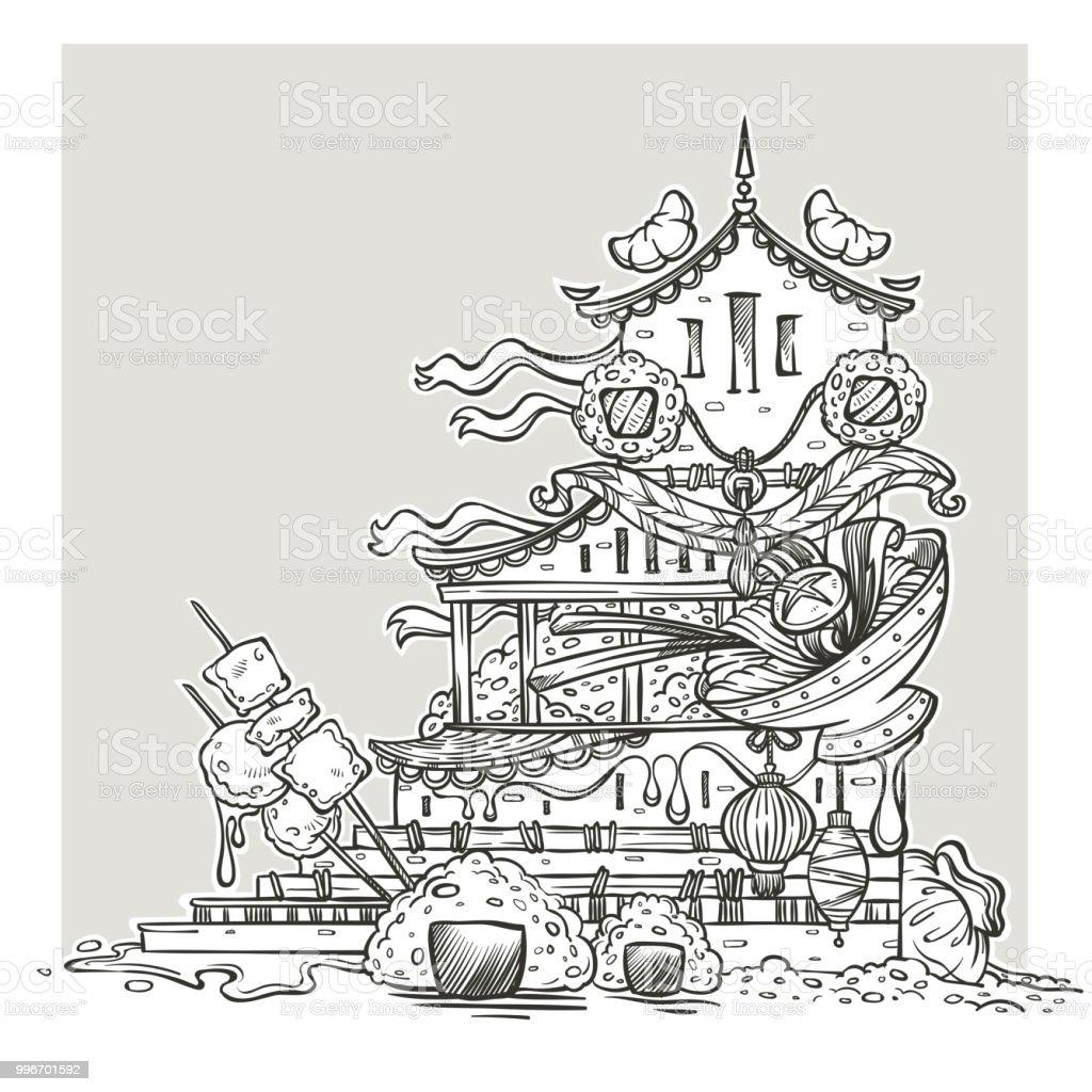 Asiatisches Essen Tempellinie Fantasy Grafik Für Ihr Colorongbuch ...