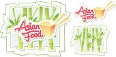 Asian Food Texticon with bamboo.