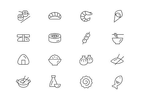 Asian food thin line vector icons. Editable stroke