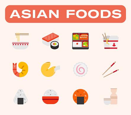Asian foods vector illustrations icons set. Japanese, Chinese foods –Sushi, Sashimi, Maki, Noodle, Bento Box, Rice Meals, Shrimp, Fish Cake, Fortune Cake, Rice Ball, Sake Drink, Chopsticks colorful isolated symbols collection