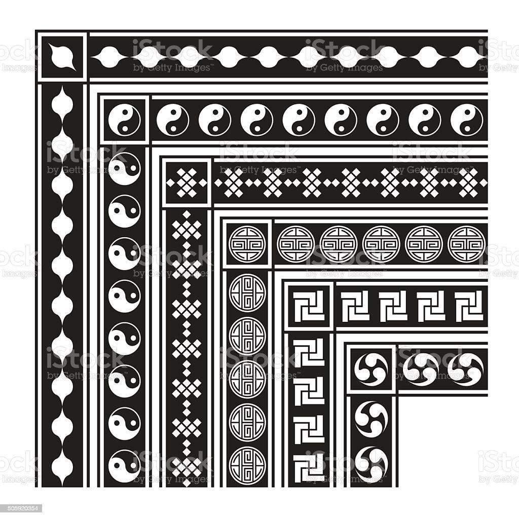 b2b3d9f69170 Asian Frame Ornament Pattern Brush Korean Chinese Japanese V Stock ...