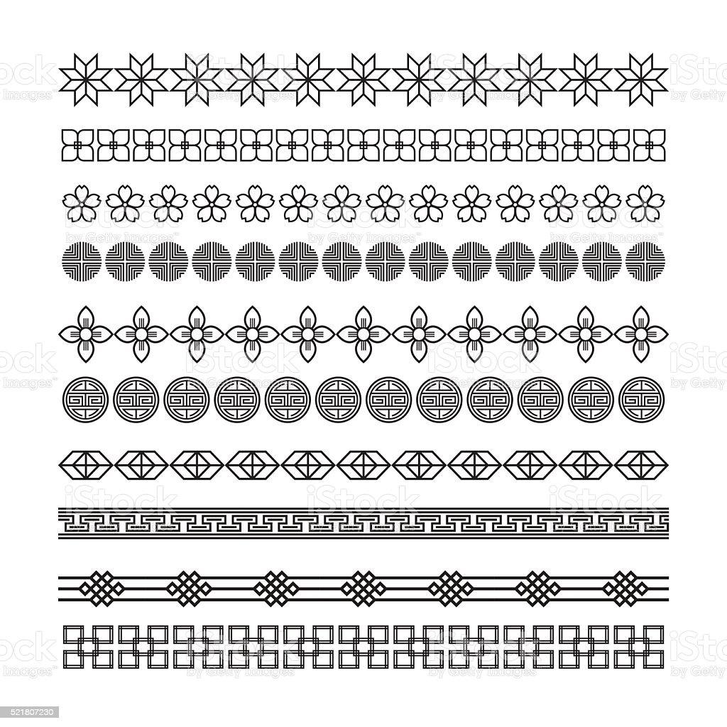Ilustración de Asian Bastidor Ornament Patrón Cepillo Coreano Chino ...