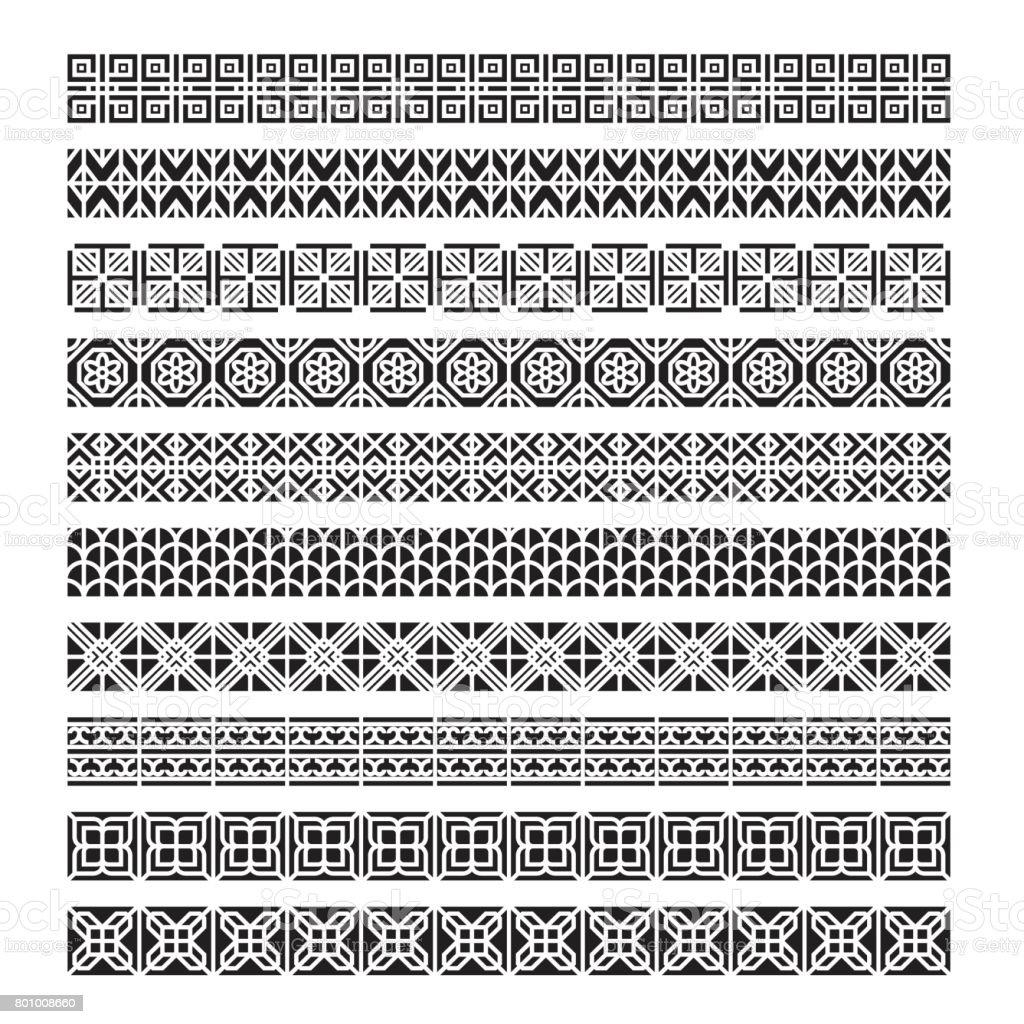 Asiatische Rahmen Ornament Musterpinsel Koreanische Chinesische ...