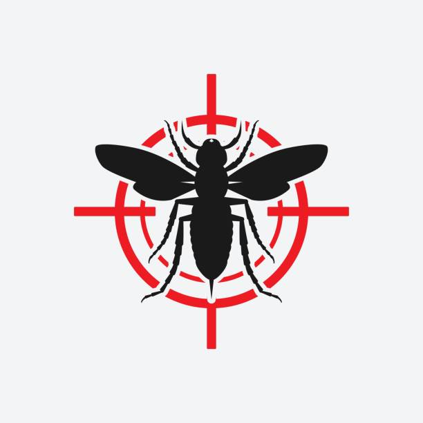 亞洲巨黃蜂圖示紅色目標。 - murder hornet 幅插畫檔、美工圖案、卡通及圖標