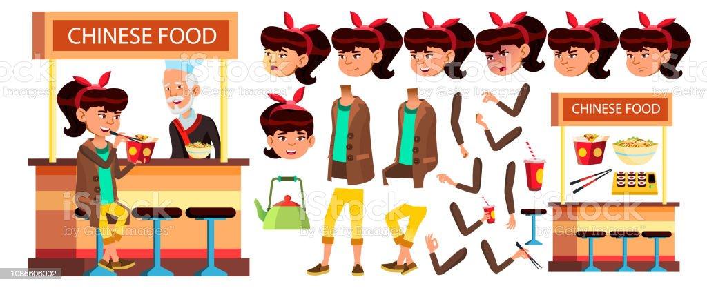 Asiatin Kid Vektor High School Kind Animation Erstellen Set