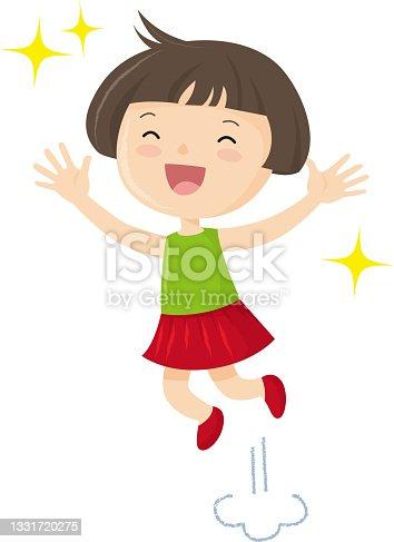 istock Asian girls happily jumping, SDGs 1331720275