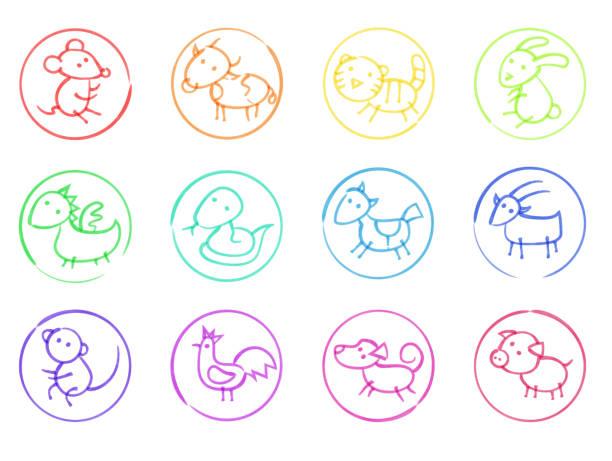 asiatische horoskop handgezeichnete mit filzstiften icons set - lustige kuh bilder stock-grafiken, -clipart, -cartoons und -symbole