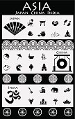 Asian (Japan, China, India) icon collection.