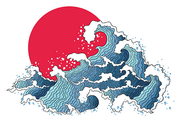 asian illustration of ocean waves and sun. - tidal wave stock illustrations, clip art, cartoons, & icons