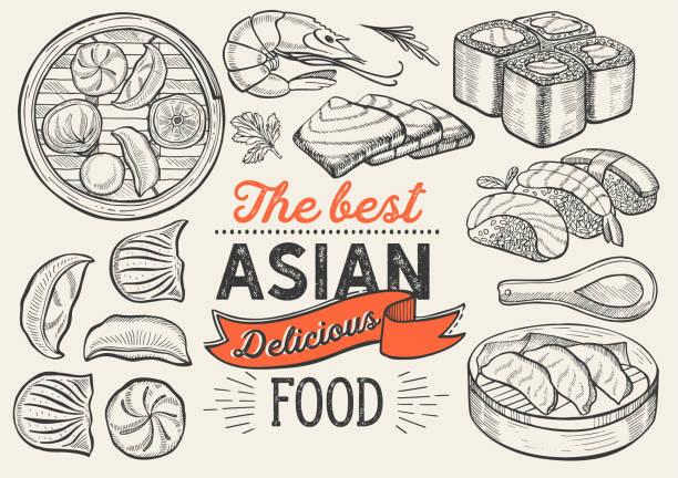 ilustrações, clipart, desenhos animados e ícones de ilustrações asiáticas-sushi, dim sum, macarronete, gyoza para o restaurante chinês. poster desenhado mão do vetor para o café e a barra japoneses. projeto com lettering e gráfico do vintage do doodle. - comida asiática
