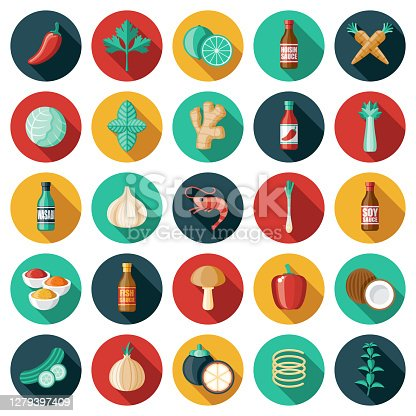 A set of ingredients for Asian cooking icons. File is built in the CMYK color space for optimal printing. Color swatches are global so it's easy to edit and change the colors.