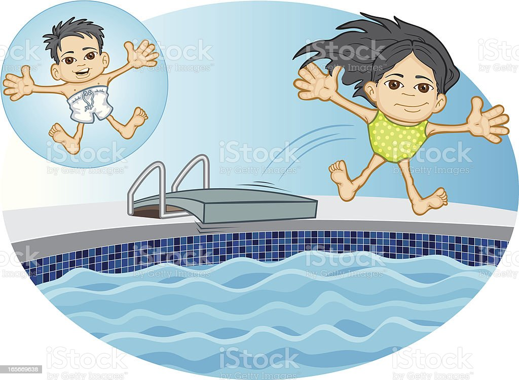Asian Kids Jumping into Swimming Pool vector art illustration