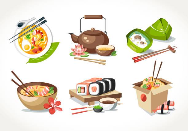 asian kitchen food laksa soup tea pot ceremony zongzi sushi noodles chinese japanese thai dishes - sushi stock illustrations