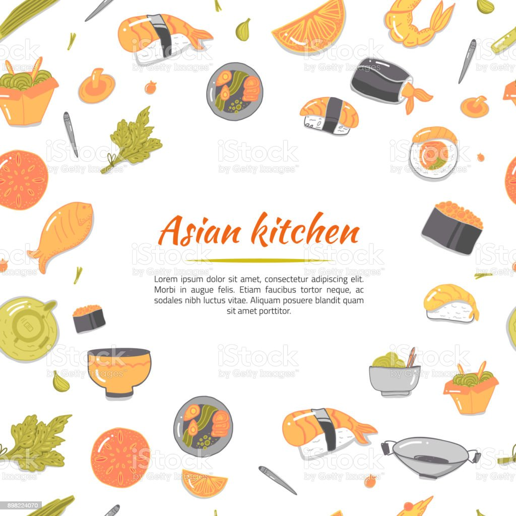 Asian Kitchen Japanese Icons On White Backdrop Vector Cartoon ...