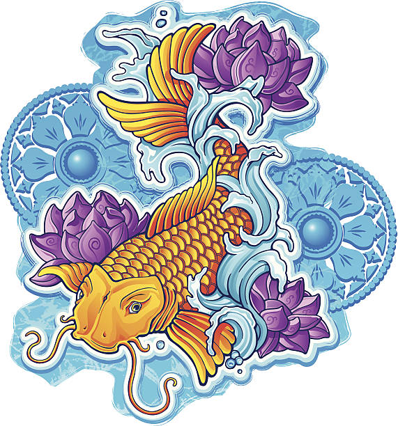 Asian Koi with ornaments A classic tattoo style golden koi fish surrounded with lotus flowers and vedic ornamentation. tranquil scene stock illustrations