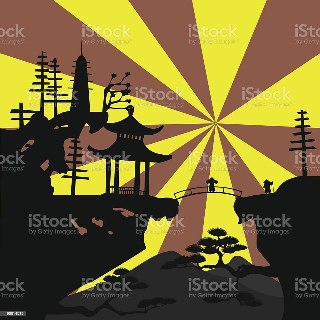 Asian landscape4 vector art illustration