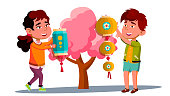 Asian Little Boy And Girl Hanging Chinese Red Lantern On Tree Vector. Illustration