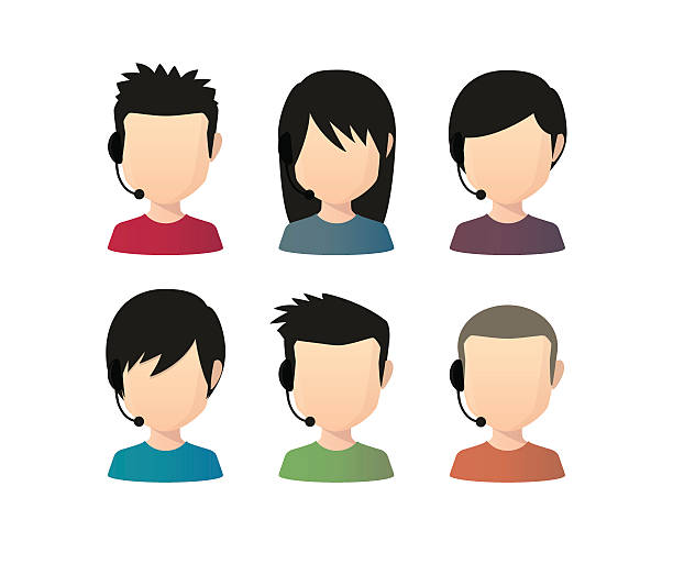 アジアの男性 faceless アバターさまざまなヘアスタイルを合わせて、 - オペレーター 日本人点のイラスト素材/クリップアート素材/マンガ素材/アイコン素材