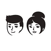 Asian man and woman portraits