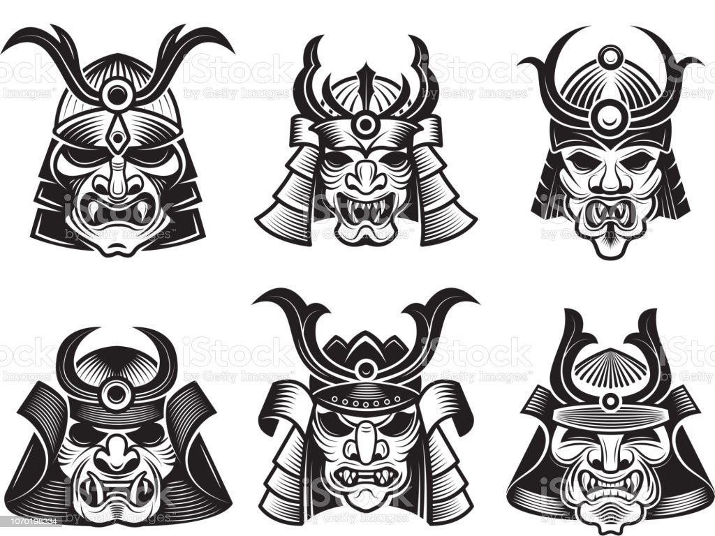 Vetores De Mascara De Artes Marcial Asiatica Samurai Japones Cara