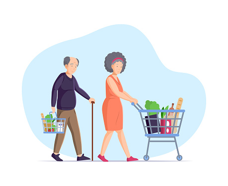 Asian mature couple going with shopping cart basket buying grocery at supermarket carrying purchase