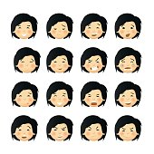 Asian men with rosy cheeks. Vector avatars and emoticons set.