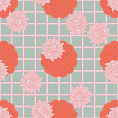 Seamless pattern with Indian lotus (flowers and pods) combined with an Asian mesh grid design, inspired by Japanese kimono patterns. The design is using bright red and soft celadon green and pink. This floral ornament is suitable for fabric, textile, cards, wrapping, wallpaper and other decorative purposes.