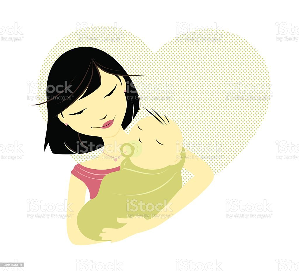 Asian mother and baby vector art illustration