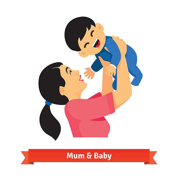 Asian mum holding up her baby in hands over head vector art illustration