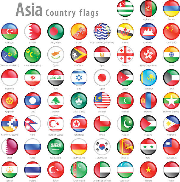 asian national flag buttons set - asya stock illustrations