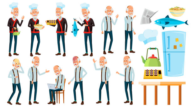 illustrazioni stock, clip art, cartoni animati e icone di tendenza di asian old man poses set vector. elderly people. senior person. aged. chef in restaurant. rolls, fish. presentation, print, invitation design. isolated cartoon illustration - chef triste