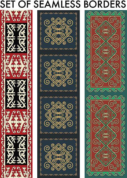 asiatische ornamenten kollektion - wollteppich stock-grafiken, -clipart, -cartoons und -symbole