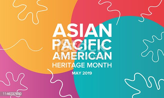 Asian Pacific American Heritage Month. Celebrated in May. It celebrates the culture, traditions, and history of Asian Americans and Pacific Islanders in the United States. Poster, card, banner and background. Vector illustration