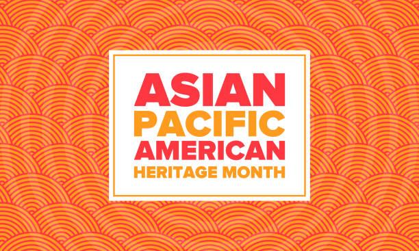 亞太裔美國傳統月。五月慶祝。它頌揚美國亞裔美國人和太平洋島民的文化、傳統和歷史。海報,卡片,橫幅。向量 - 亞洲 幅插畫檔、美工圖案、卡通及圖標