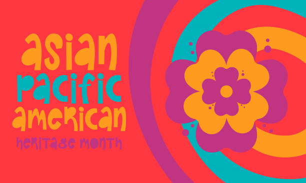 Asian Pacific American Heritage Month. Celebrated in May. It celebrates the culture, traditions and history of Asian Americans and Pacific Islanders in the United States. Poster, card, banner. Vector vector art illustration