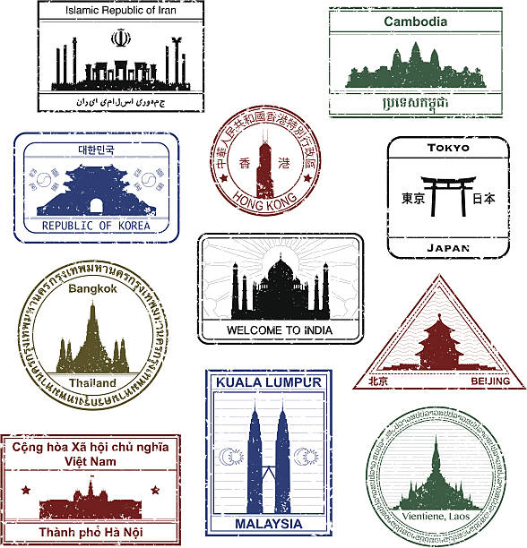 stockillustraties, clipart, cartoons en iconen met asian passport stamps - cambodja