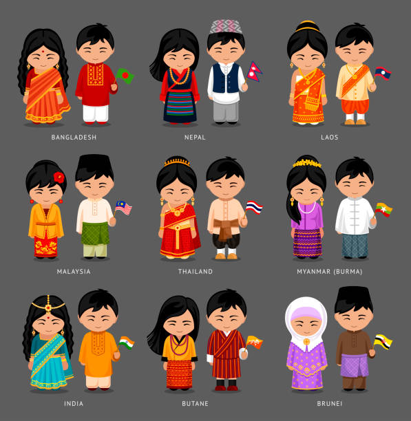 Asian people in national dress. People in national dress. Set of asian pairs dressed in traditional costume. National clothes. Vector illustration. indian family stock illustrations